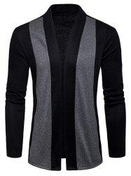 Two Tone Shawl Collar Open Front Cardigan -