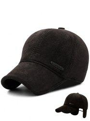 Metal Bar Embellished Earmuffs Corduroy Baseball Hat -