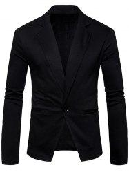 One Button Cotton Blend Blazer -