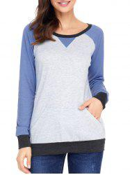 Sweat-Shirt avec Patch au Coude en Blocs de Couleurs -
