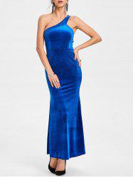 Sequin One Shoulder Party Maxi Dress -