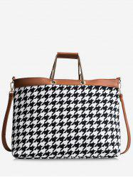 Contasting Color Checked Tote Bag -