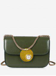 Flap Faux Pearl Chain Crossbody Bag -
