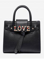 PU Leather Crystal Letter Handbag -