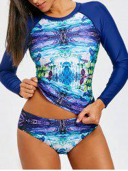 Abstract Print Long Sleeve Two Piece Swimsuit -