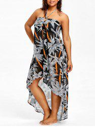 Plus Size Halter Print Beach Cover Ups -