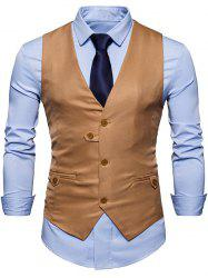 Single Breasted V Neck Plain Waistcoat -