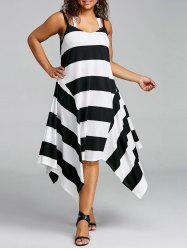 Plus Size Striped Handkerchief Hem Dress -
