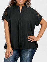 Plus Size High Low Crochet Blouse -