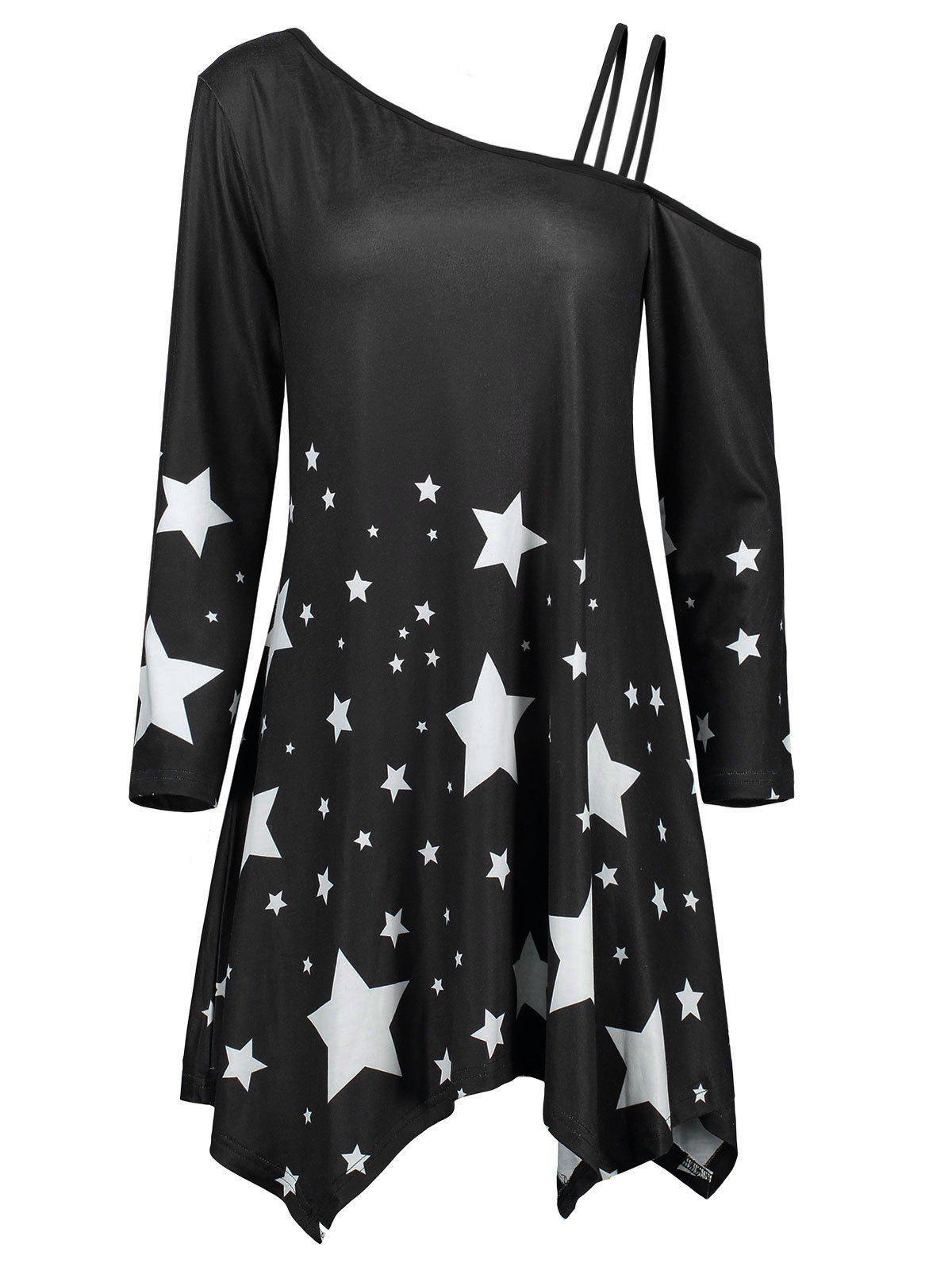 Discount Skew Collar Asymmetric Star Print Dress