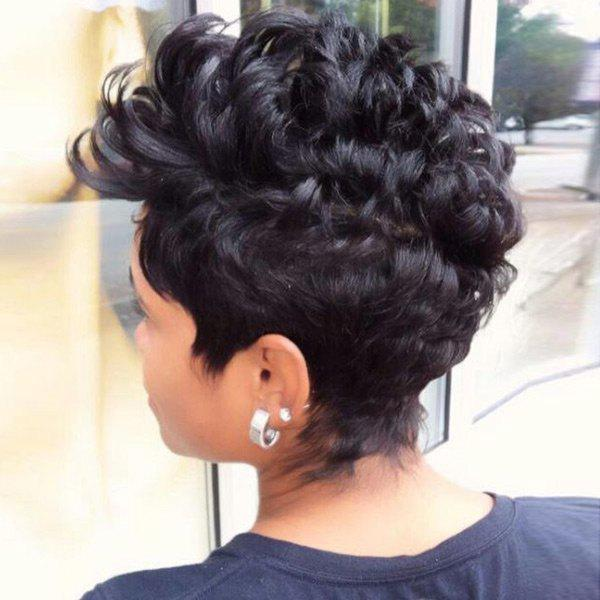 Image of Short Inclined Bang Layered Fluffy Curly Pixie Synthetic Wig