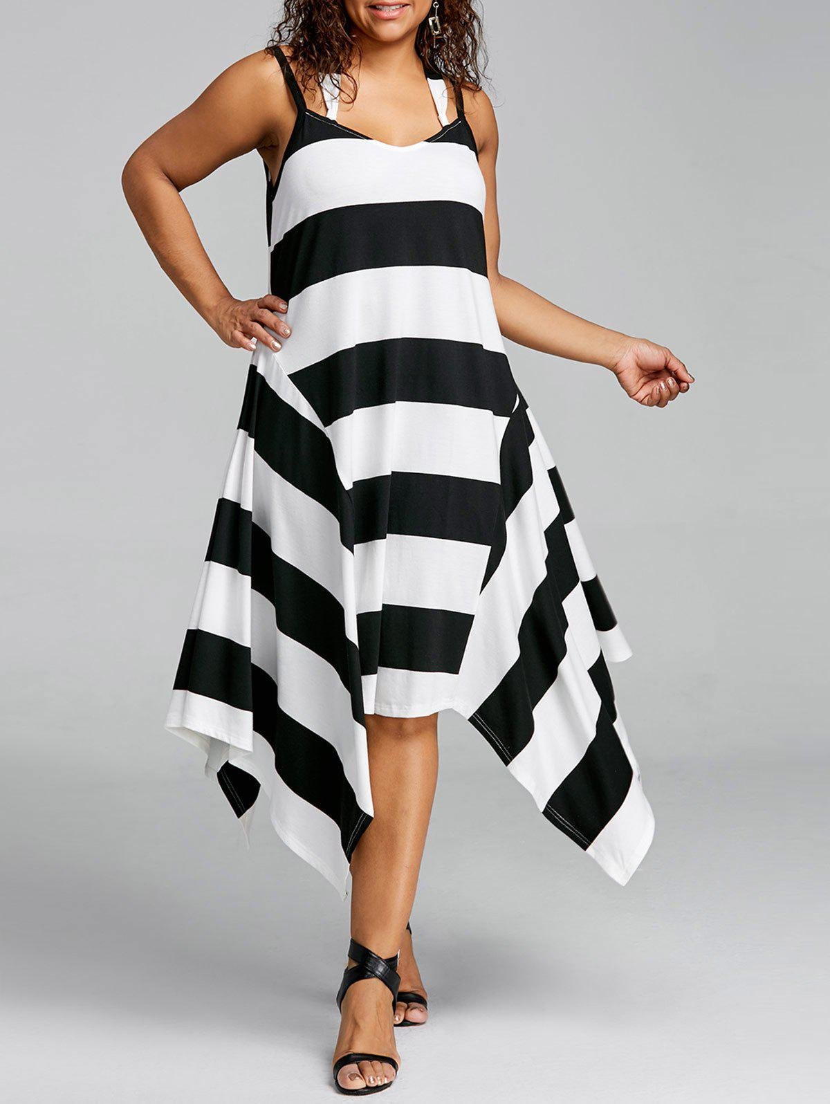 Unique Plus Size Striped Handkerchief Hem Dress