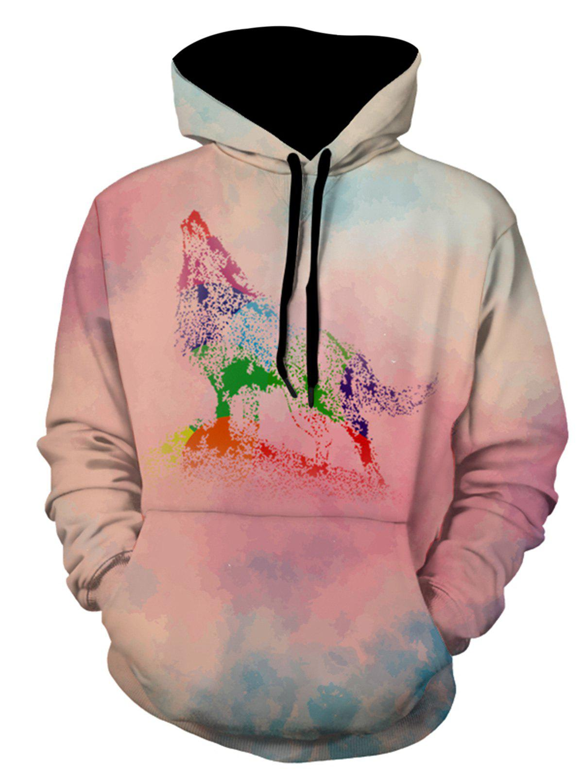 Latest Watercolor Howling Wolf Print Hoodie
