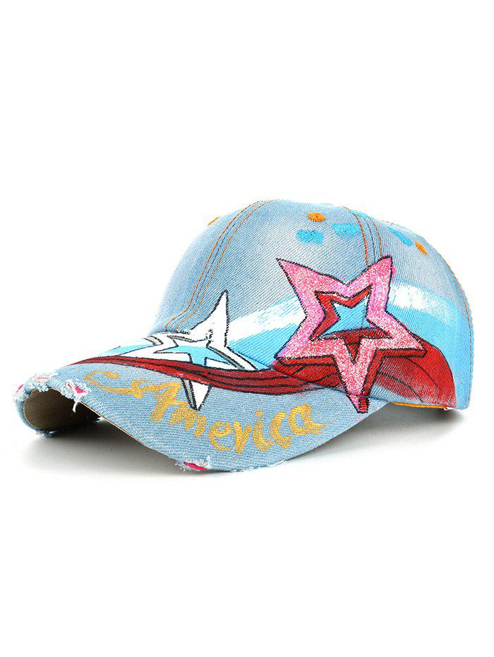 Outfit Unique Star Pattern Embellished Hand Drawing Baseball Hat