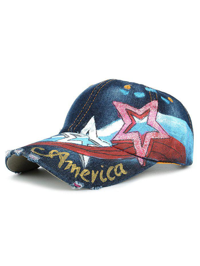 Discount Unique Star Pattern Embellished Hand Drawing Baseball Hat