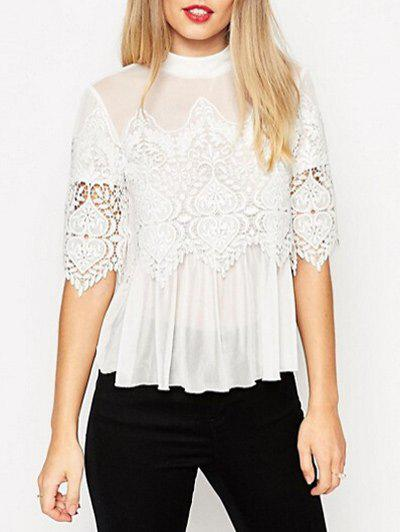 Outfits See Thru Lace Insert Chiffon Top