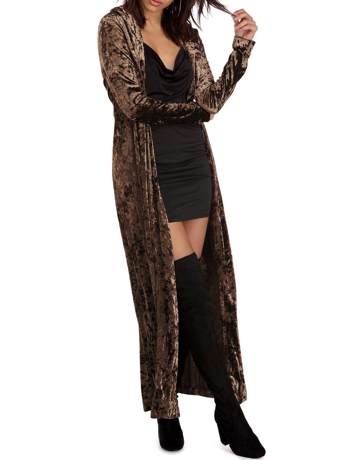 Discount Long Sleeve Velvet Duster Coat