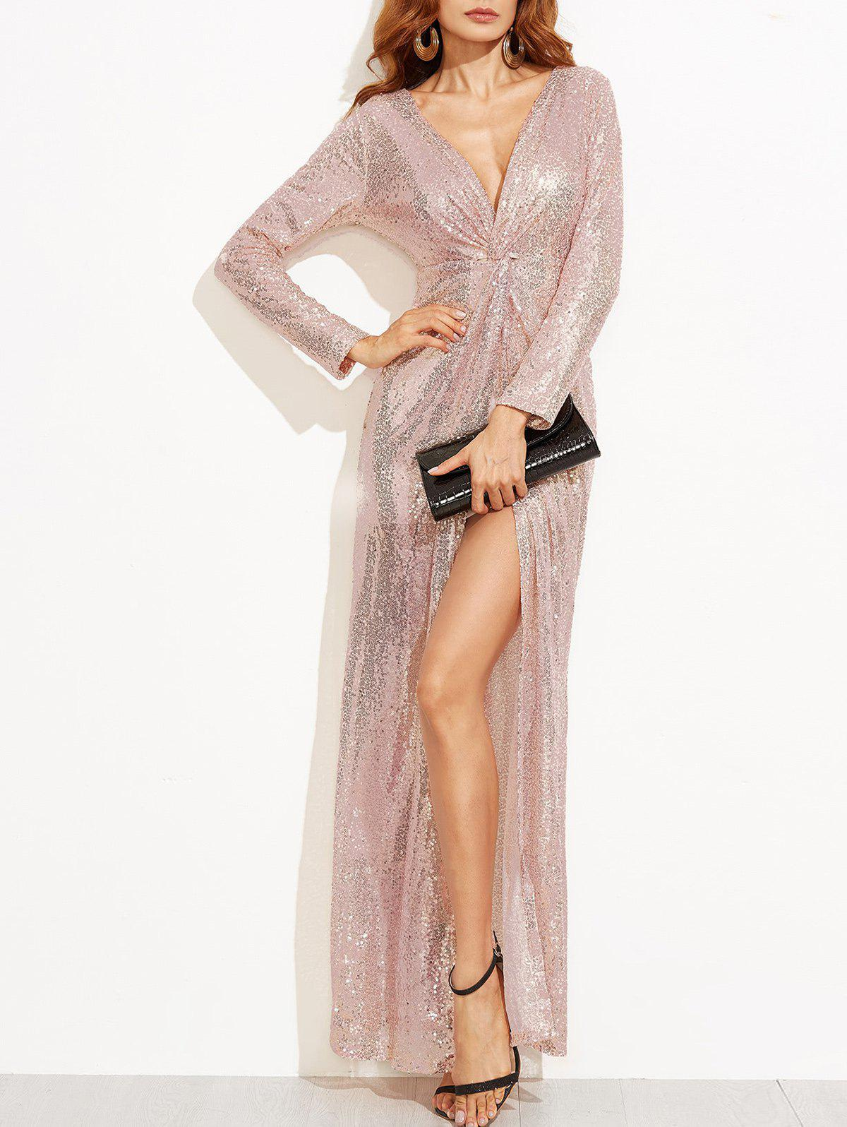 Unique Slit Plunge Sequin Dress