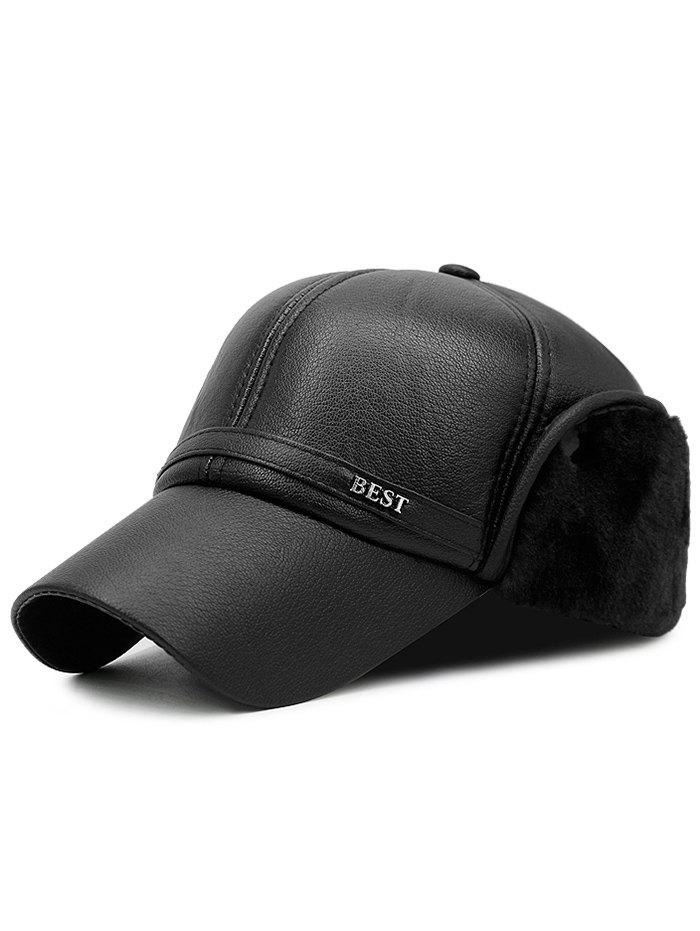 Best Winter PU Leather Earmuffs Baseball Hat