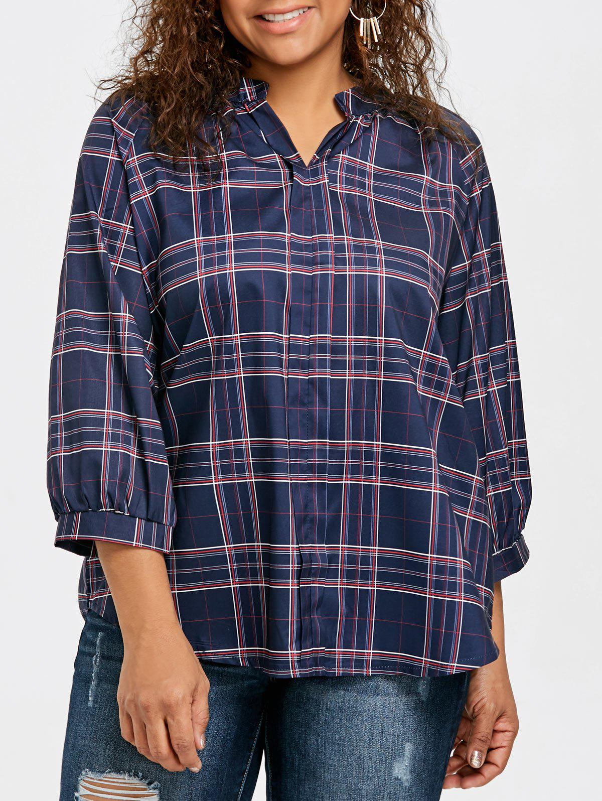 Discount Plus Size Raglan Sleeve Plaid Blouse