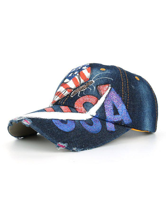 Best Unique Hand Drawing Butterfly American Flag Baseball Hat