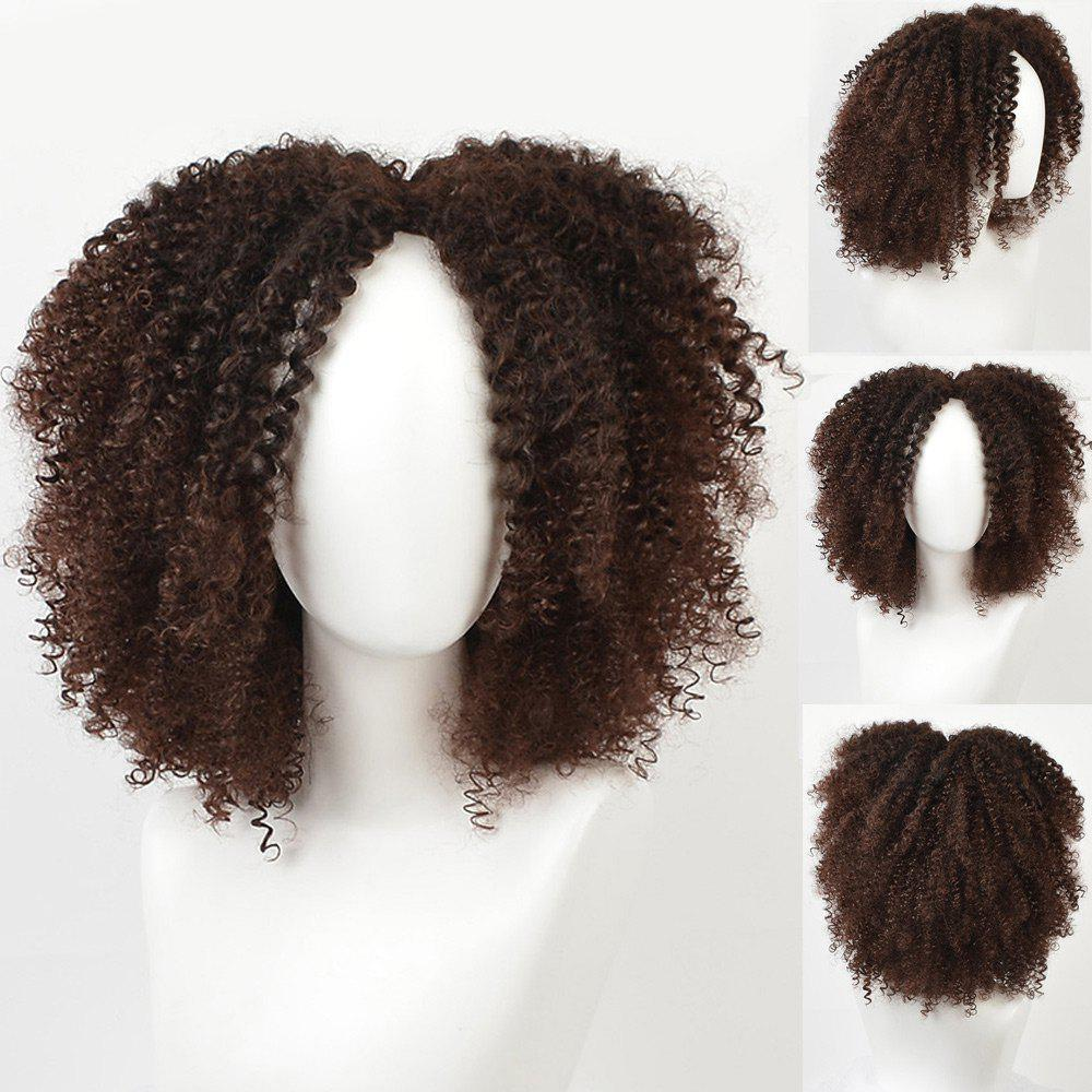 Short Center Parting Fluffy Afro Curly Synthetic Wig