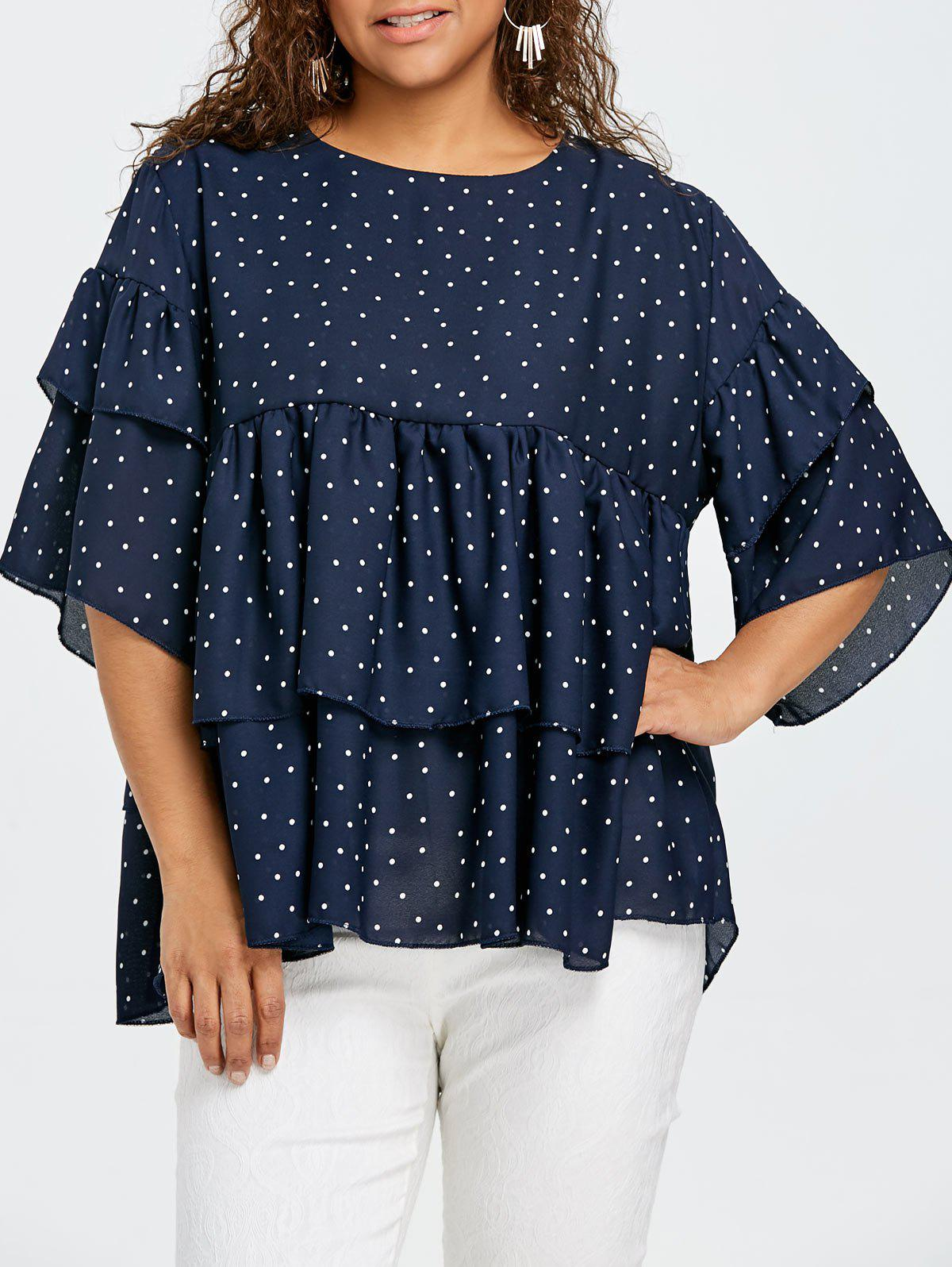 Fashion Plus Size Tiered Flounce Polka Dot Blouse