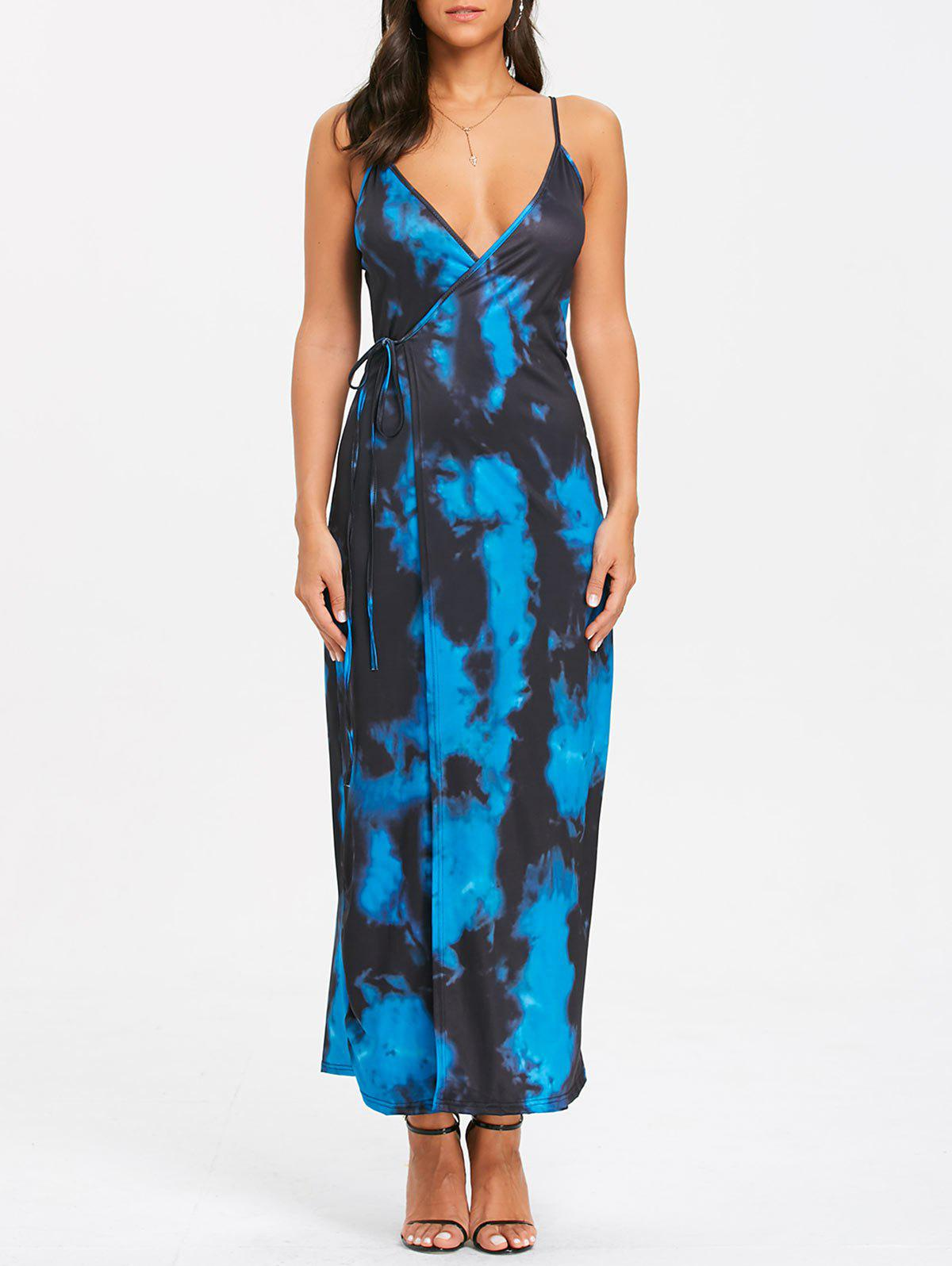 Buy Spaghetti Strap Tie Dyed Print Maxi Wrap Dress