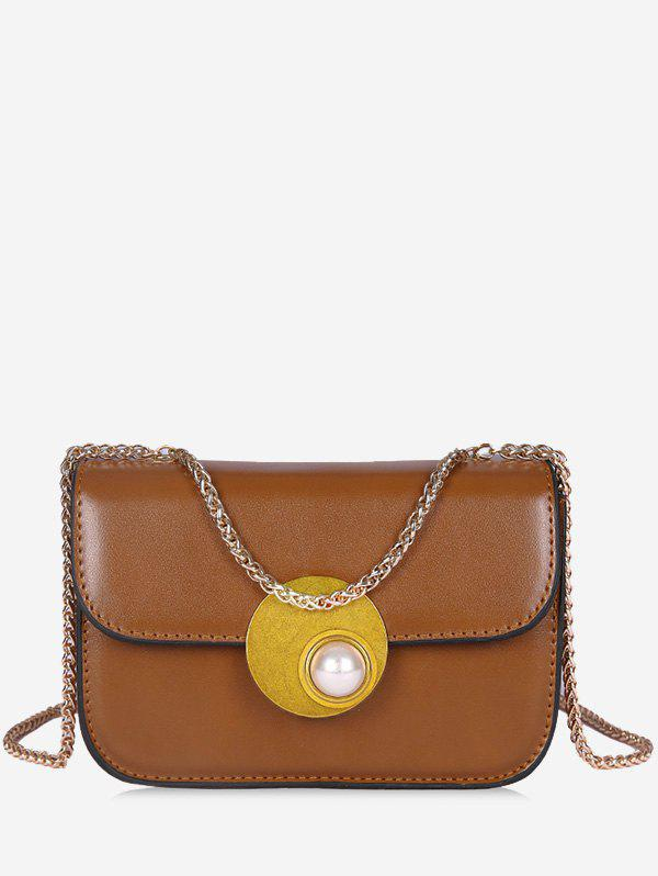 Outfit Flap Faux Pearl Chain Crossbody Bag