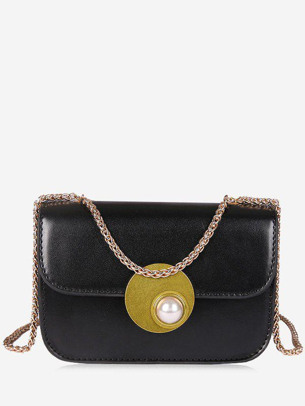 Discount Flap Faux Pearl Chain Crossbody Bag