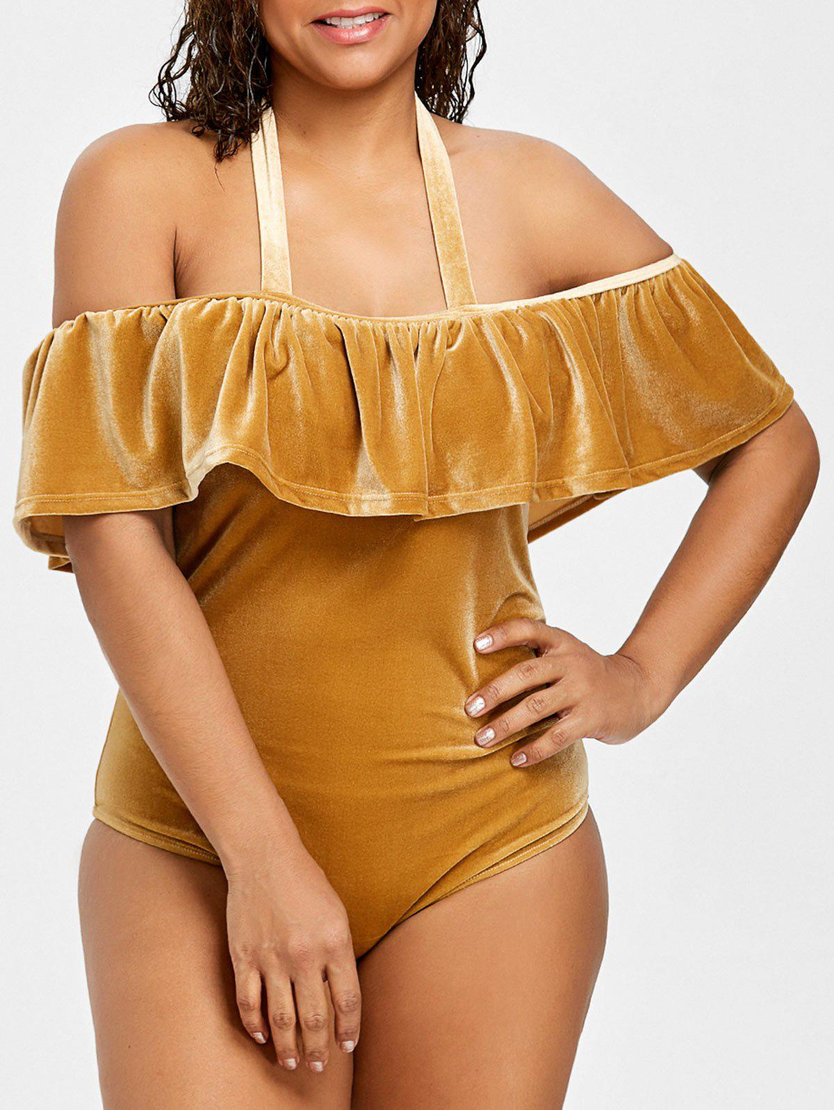 Latest Plus Size Velvet Halter Ruffle Swimsuit