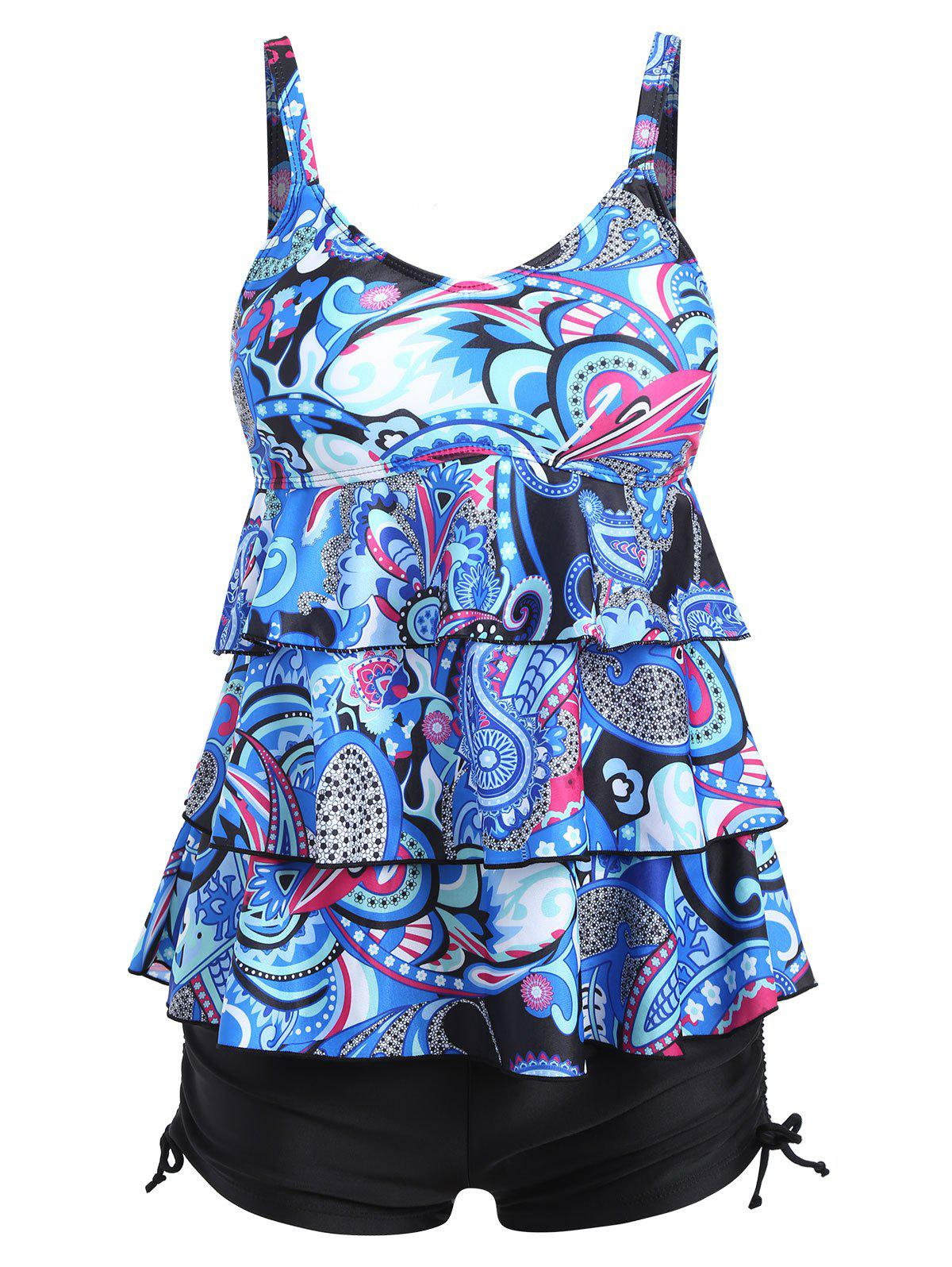 Affordable Printed Plus Size Tier Flounce Tankini Set