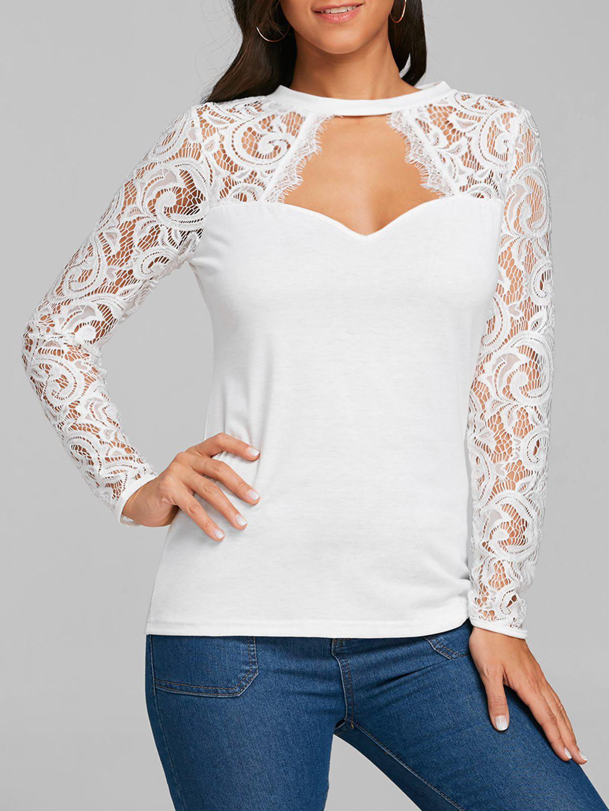 Store Lace Panel Cut Out Long Sleeve T-shirt