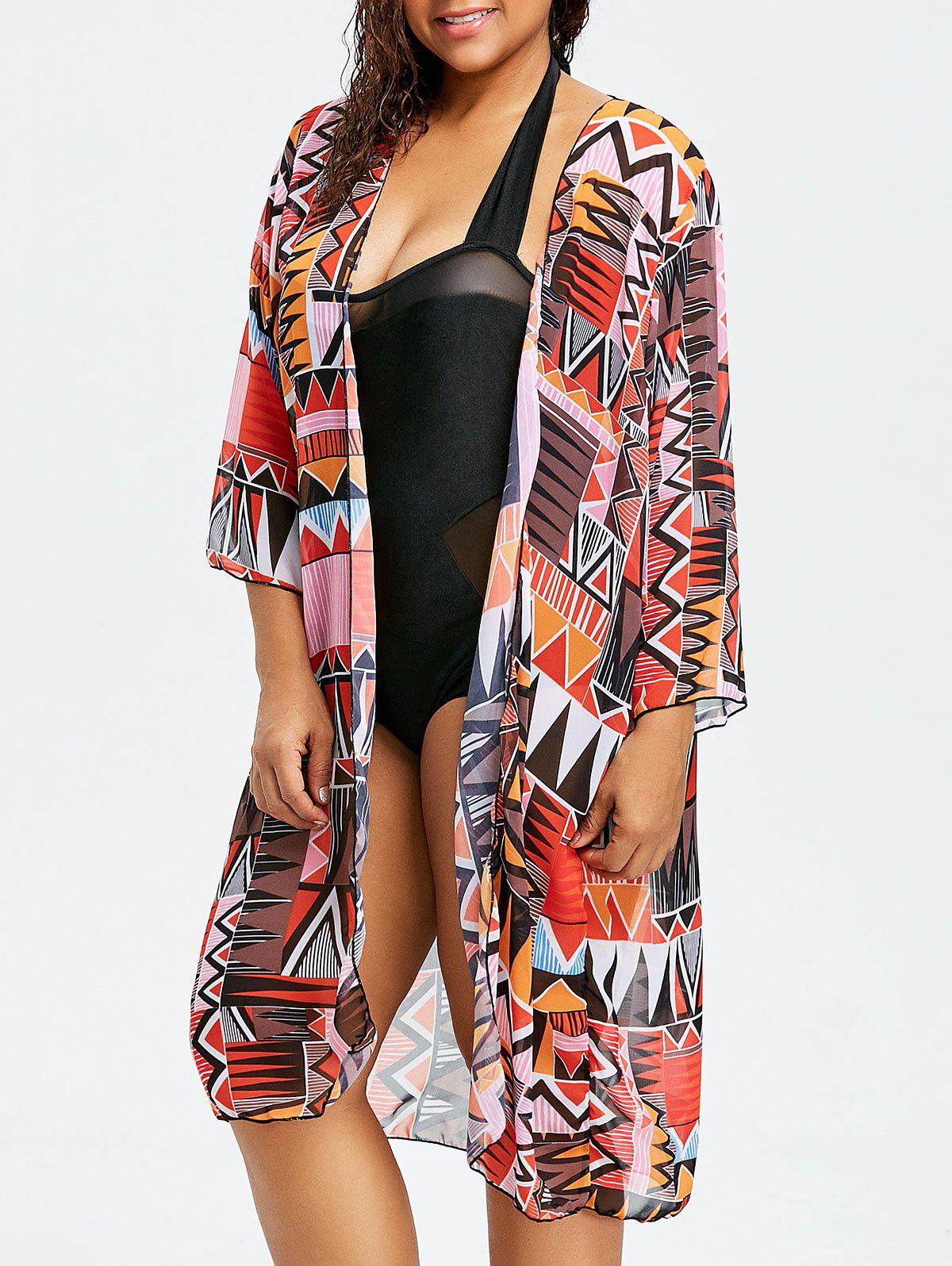 New Tribal Long Plus Size Swimsuit Cover Up Kimono