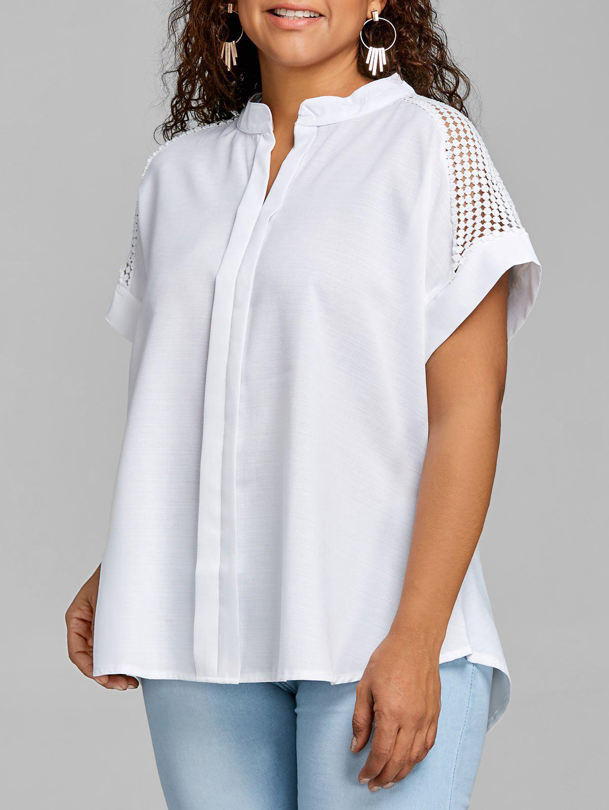Chic Plus Size High Low Crochet Blouse