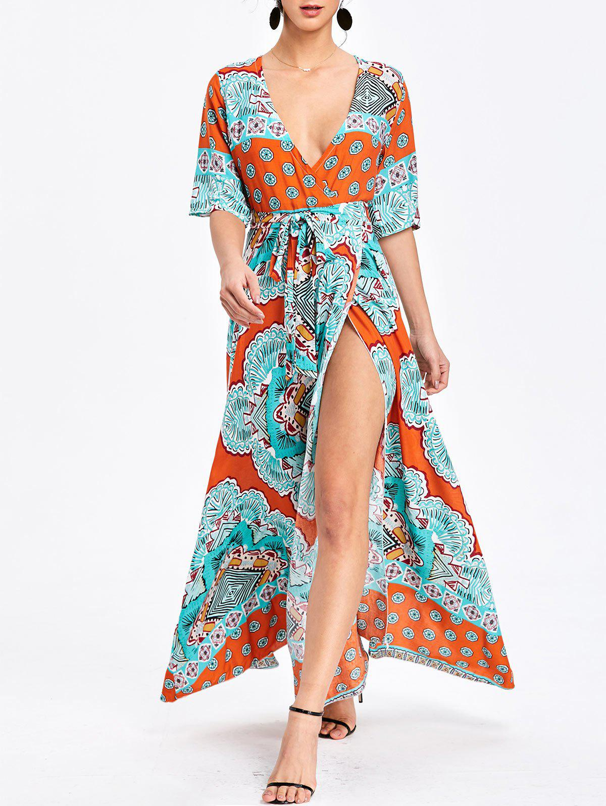 Outfits Bohemian Surplice Printed Maxi Slit Dress