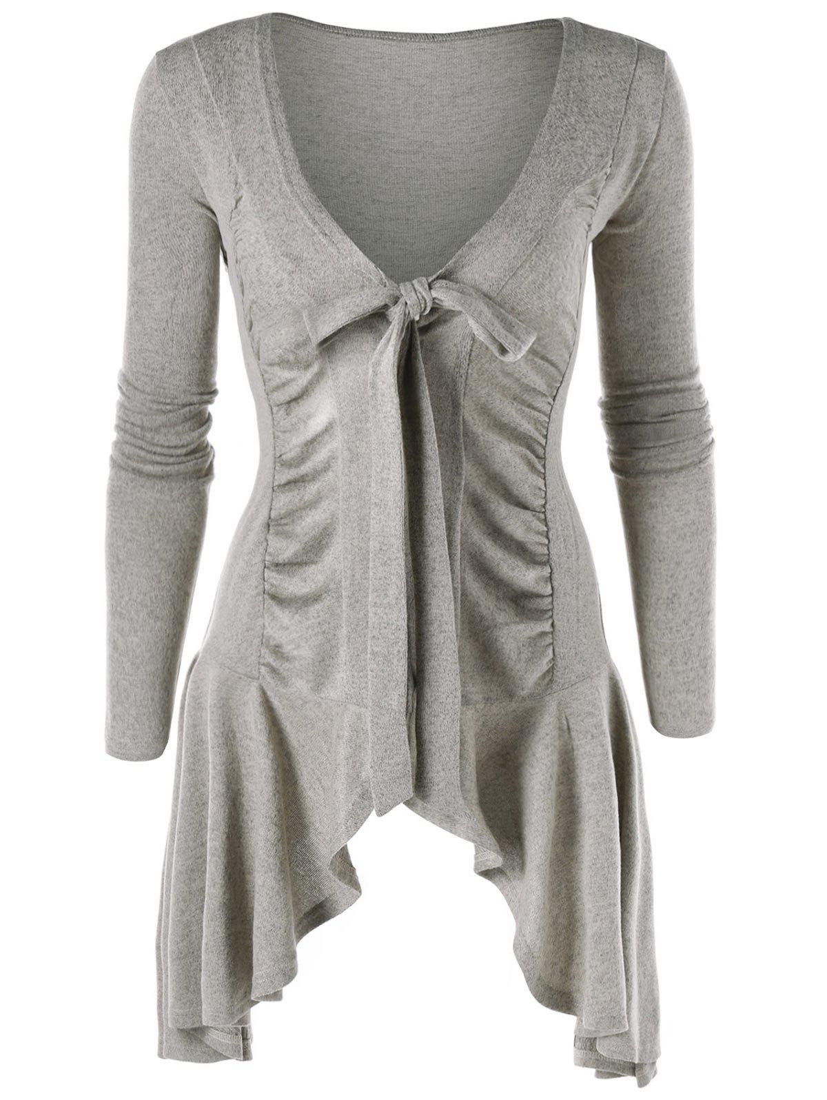 Fancy Tie Up Ruched Asymmetric Cardigan