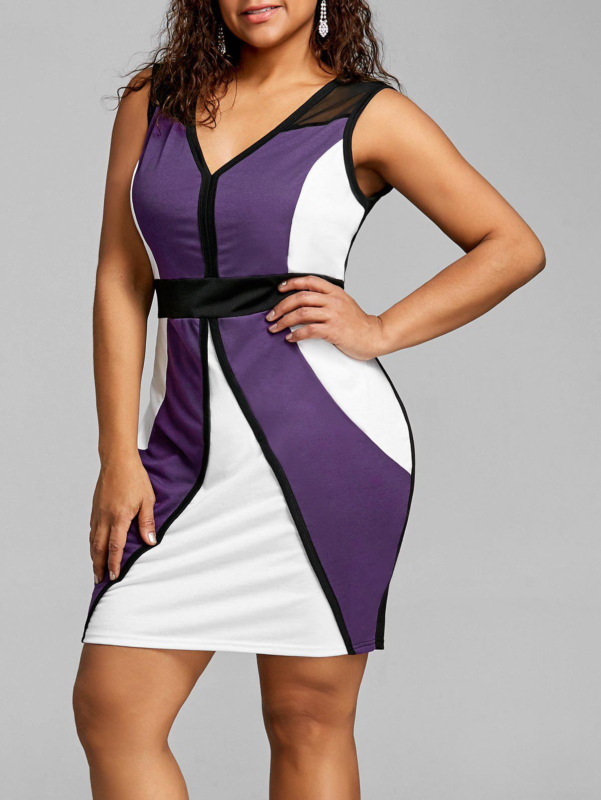 Unique Plus Size Color Block Bodycon Dress