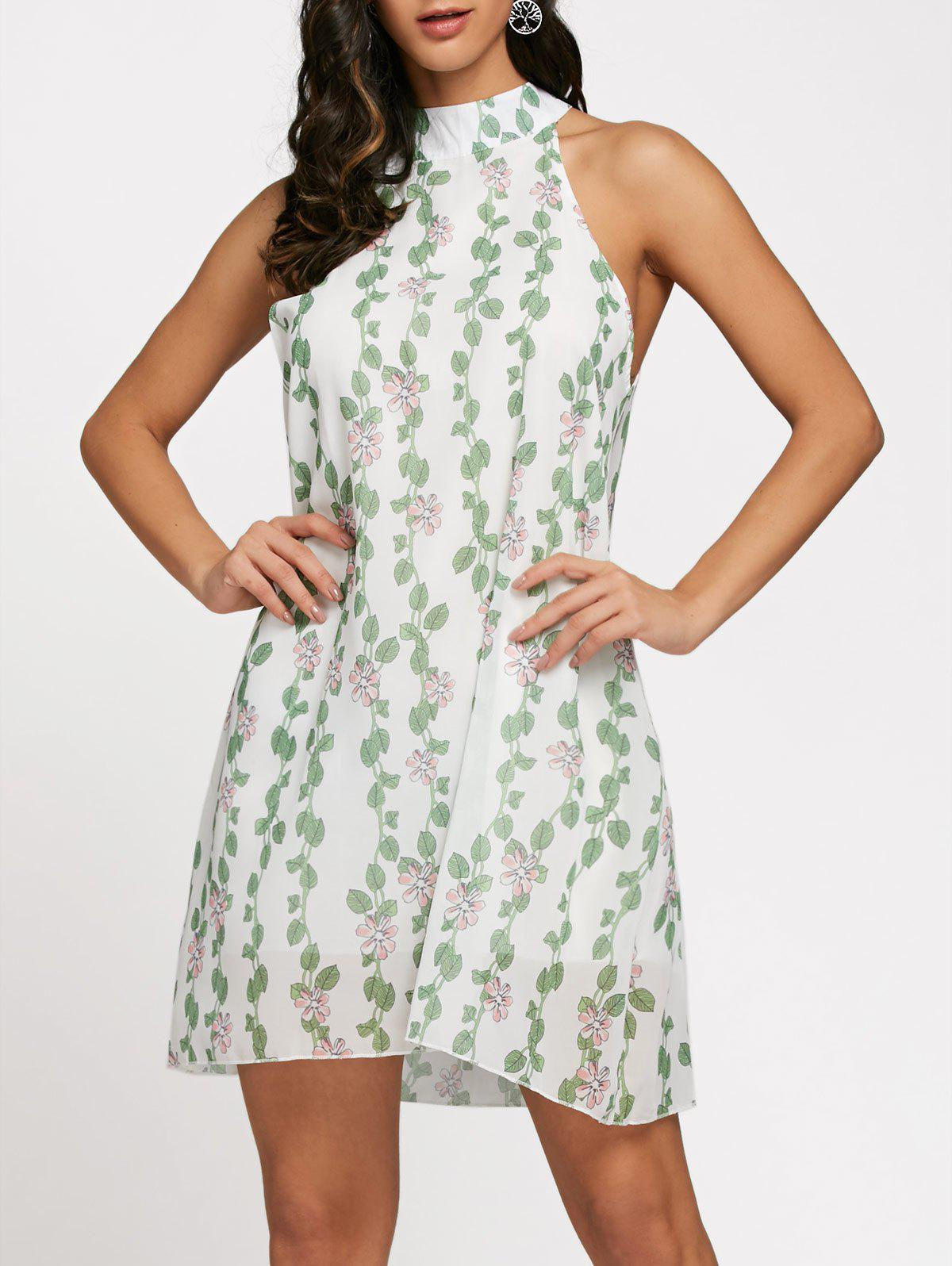 Store Floral Leaf Print Sleeveless Chiffon Shift Dress