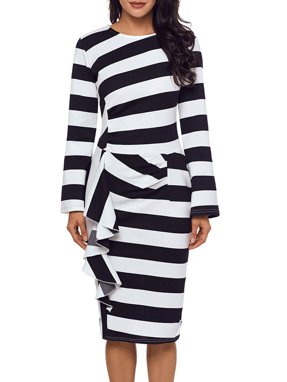 Best Ruffle Stripe Long Sleeve Dress