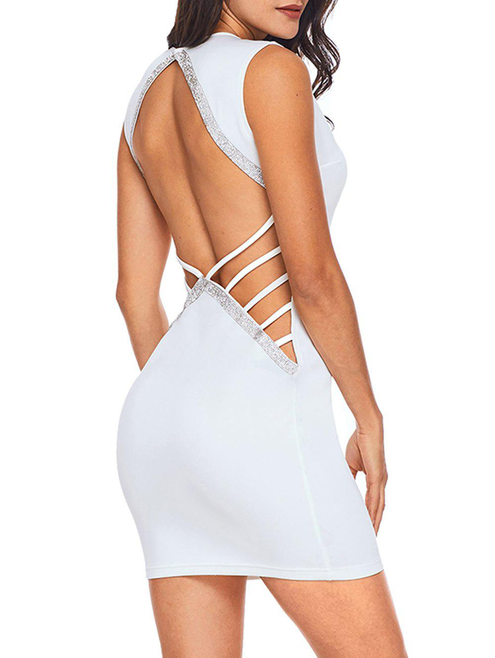 New Rhinestone Backless Bodycon Mini Dress