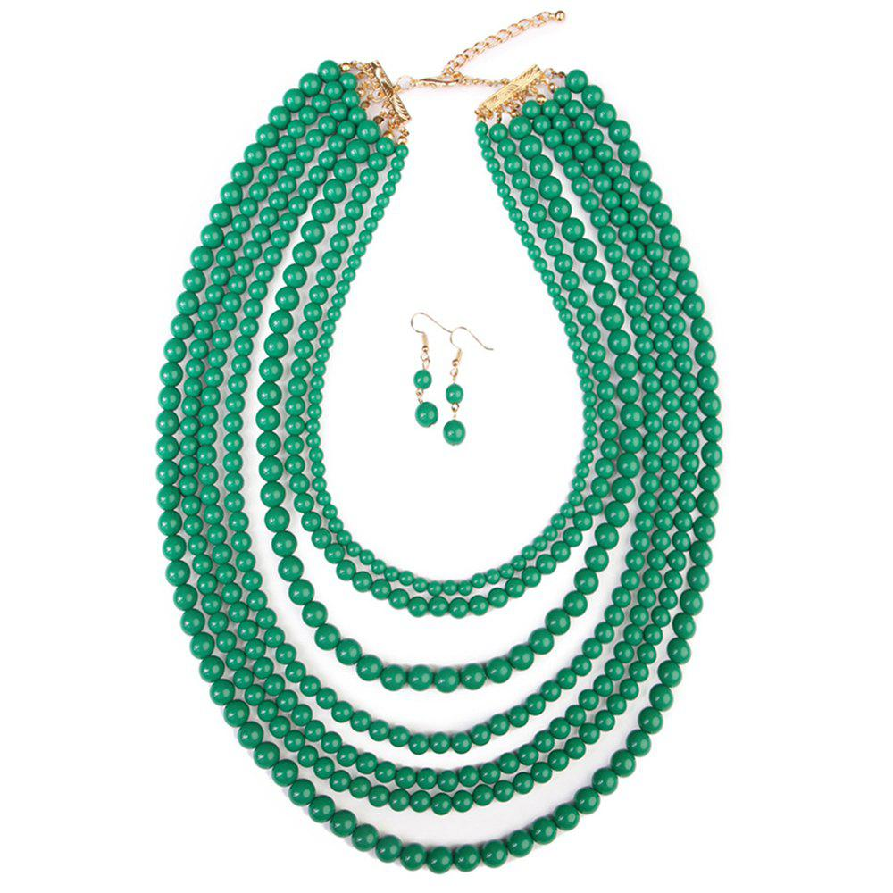 Best Multi-layered Beads Necklace Earring Jewelry Set