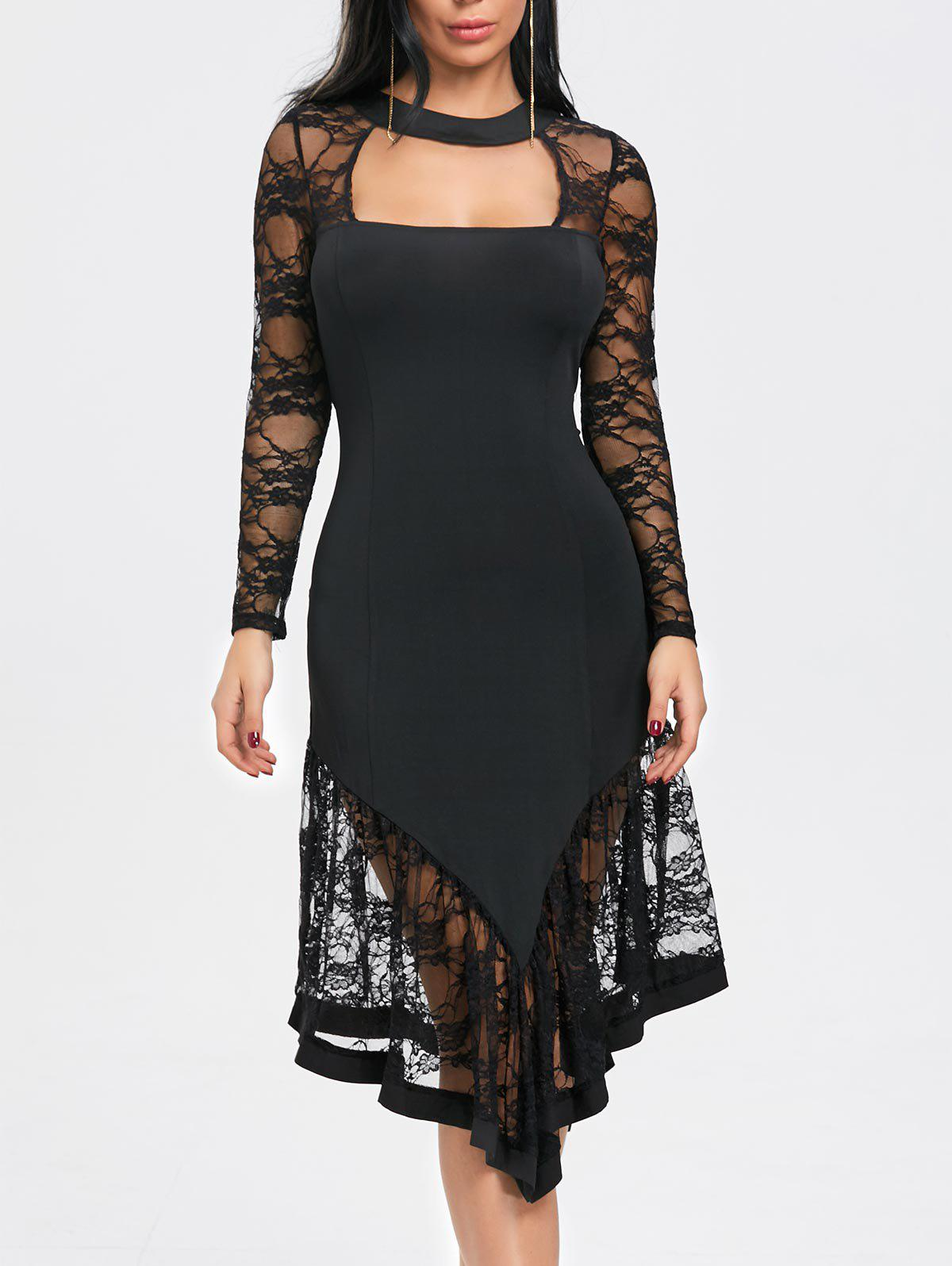 Best Cut Out Lace Panel Asymmetrical Club Dress