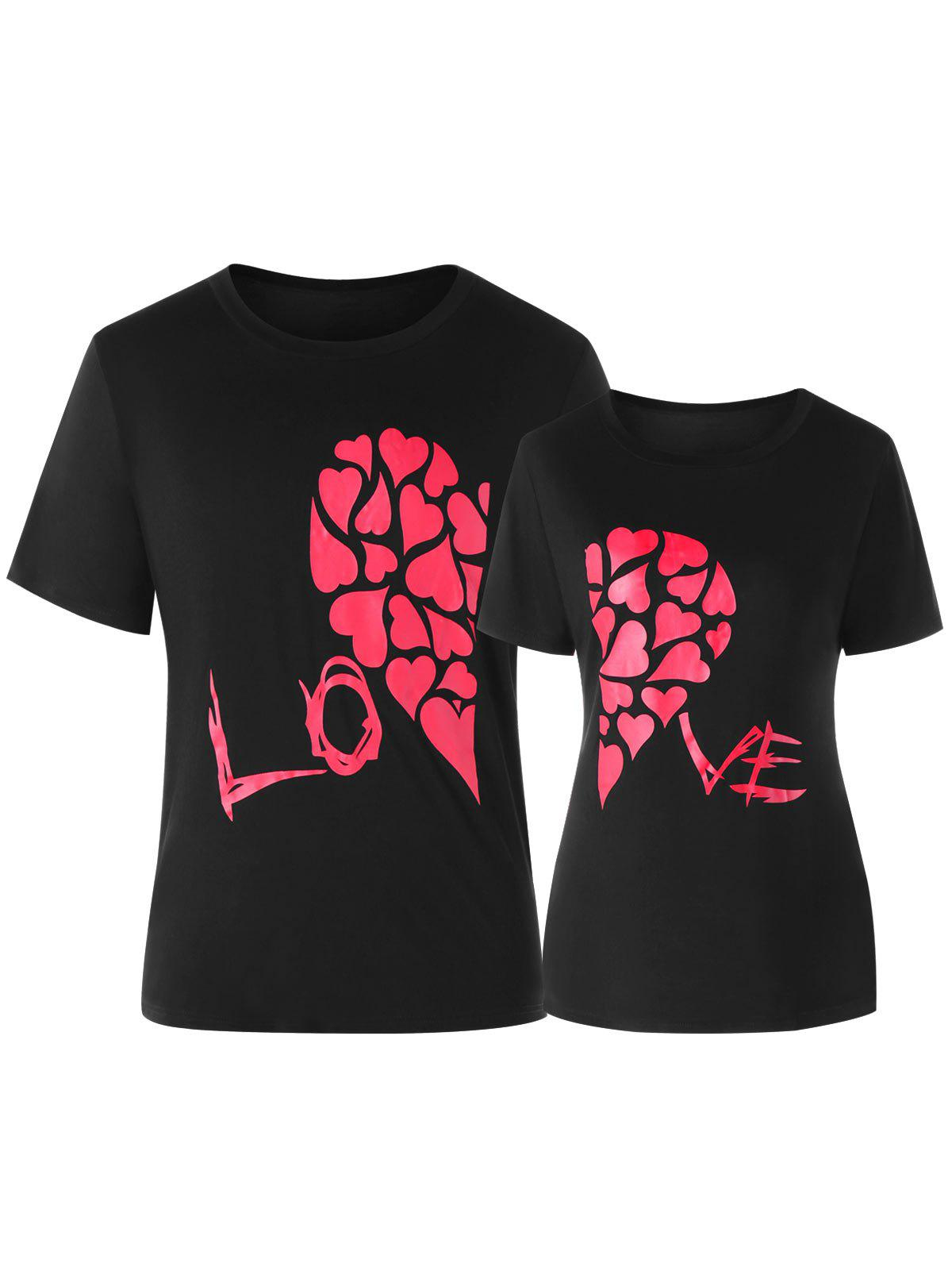 Sale Valentines Day Heart Print Matching Couple Short Sleeve T-shirt