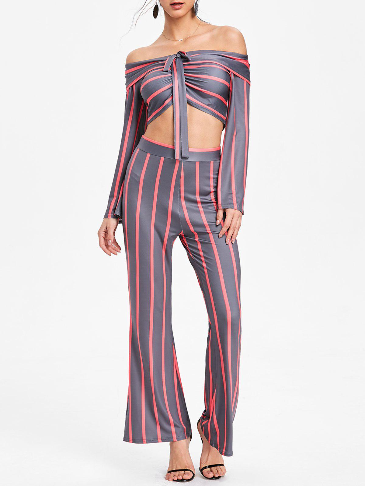 Latest Stripe Crop Top and Wide Leg Pants