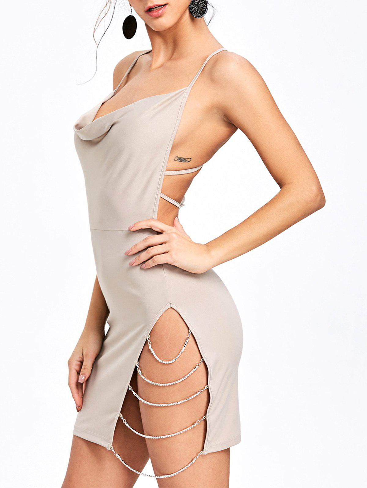 Sale Chains Embellished Backless Club Dress