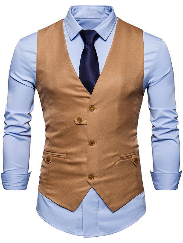 Discount Single Breasted V Neck Plain Waistcoat