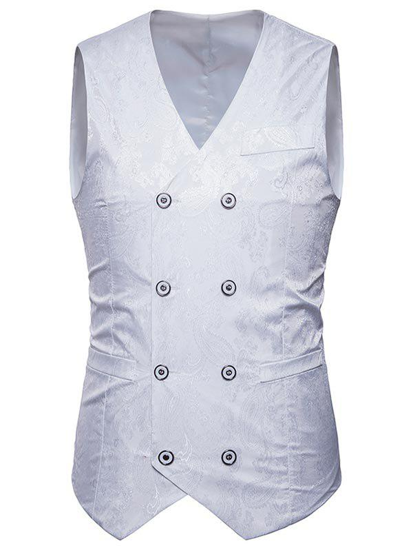 Latest V Neck Double Breasted Paisley Waistcoat