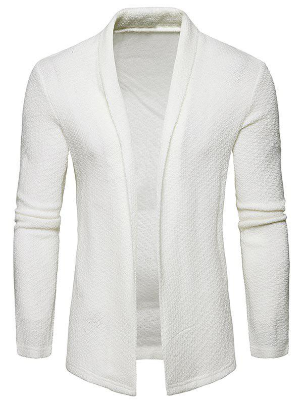 Online Shawl Collar Open Front Textured Cardigan