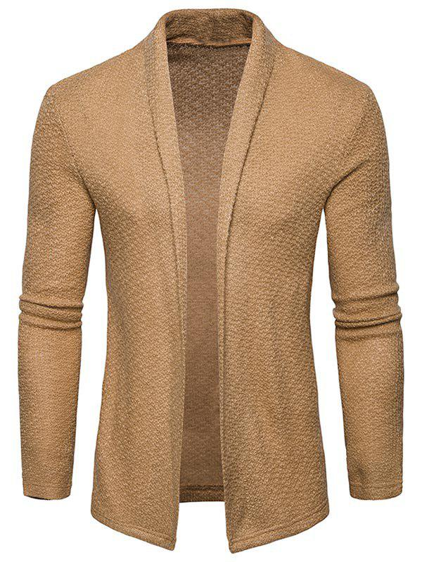 Shop Shawl Collar Open Front Textured Cardigan